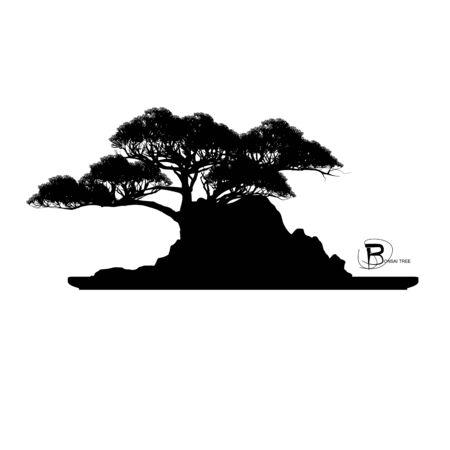 Japanese bonsai tree and stone, Black silhouette of bonsai. Detailed image. Vector Stock Illustratie