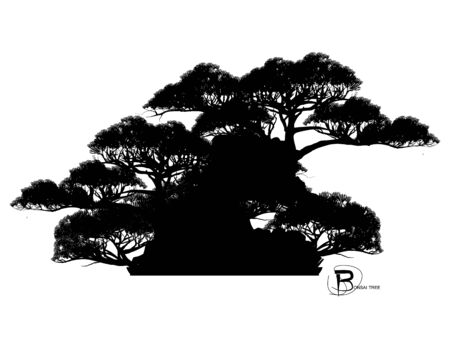 Japanese bonsai tree and stone, Black silhouette of bonsai. Detailed image. Vector Zdjęcie Seryjne - 129155535