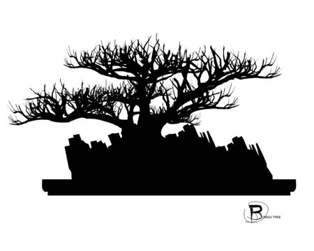 Japanese bonsai tree and stone, Black silhouette of bonsai. Detailed image. Vector Zdjęcie Seryjne - 129155576