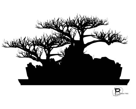 Japanese bonsai tree and stone, Black silhouette of bonsai. Detailed image. Vector Zdjęcie Seryjne - 129155573