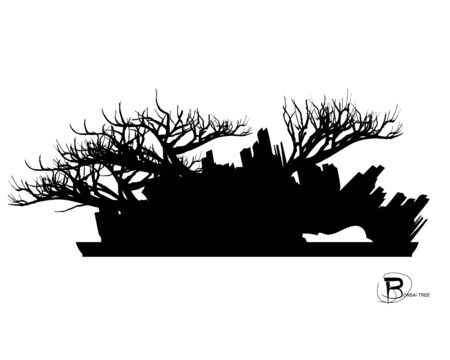 Japanese bonsai tree and stone, Black silhouette of bonsai. Detailed image. Vector Zdjęcie Seryjne - 129155580