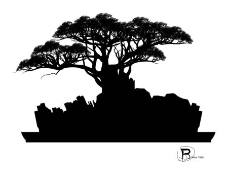 Japanese bonsai tree and stone, Black silhouette of bonsai. Detailed image. Vector Ilustracja