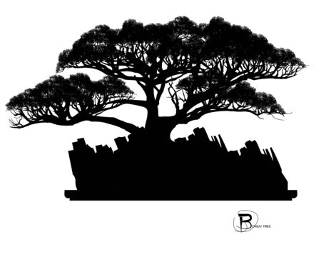 Japanese bonsai tree and stone, Black silhouette of bonsai. Detailed image. Vector Zdjęcie Seryjne - 129155645