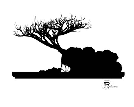 Japanese bonsai tree and stone, Black silhouette of bonsai. Detailed image. Vector Zdjęcie Seryjne - 129155696
