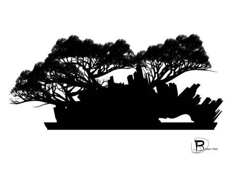 Japanese bonsai tree and stone, Black silhouette of bonsai. Detailed image. Vector Zdjęcie Seryjne - 129155727