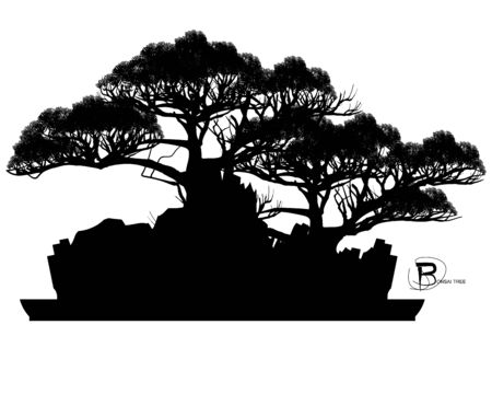 Japanese bonsai tree and stone, Black silhouette of bonsai. Detailed image. Vector Zdjęcie Seryjne - 129155722