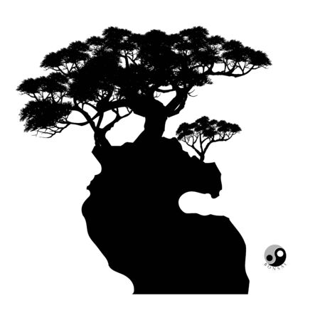 bonsai tree on the rock and Chinese architecture, vector illustration, mini tree