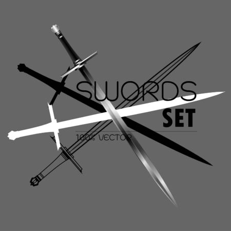 sword set,swords set. sword isolated on white background , Military sword ancient weapon design silhouette, European straight swords,vector illustration, Daggers and Knifes Hand Drawn