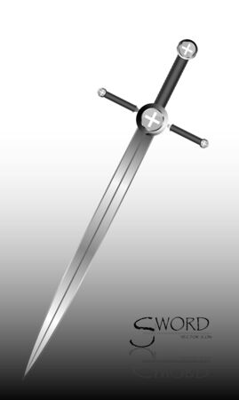sword isolated on white background , Military sword  ancient weapon design silhouette, European straight swords., vector illustration, Daggers and Knifes Hand Drawn