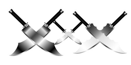 Crossed Swords Vector Collection in White Background, sword isolated on white background, Military sword  ancient weapon design silhouette, European straight swords, vector illustration.