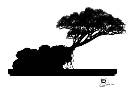 Japanese bonsai tree , plant silhouette icons on white background, Black silhouette of bonsai. Detailed image. Vector  イラスト・ベクター素材