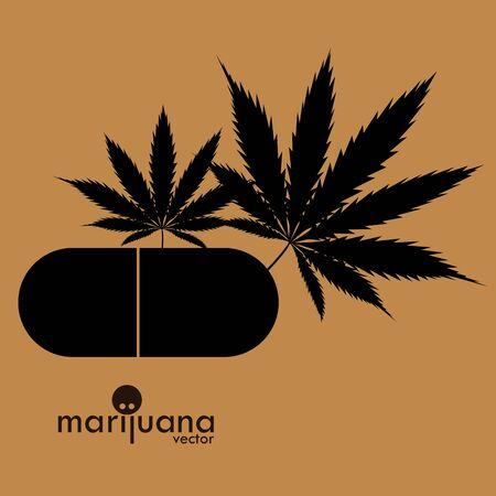 Logo de cannabis ou de marijuana, image vectorielle de feuille de marijuana. Médicament Cannabis Weed, fumer, fumeur de mauvaises herbes, fichier de coupe coupe Cricut Vector Clipart Logo