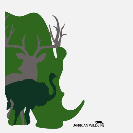 Vector group of african animal label, Africa wildlife.
