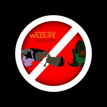 Sign of prohibited hunting, wildlife day, 13 march, no hunting.animal hunt prohibition signs. Collection of signs that prevent animal hunting. Animal hunt banned. Preserving wildlife.