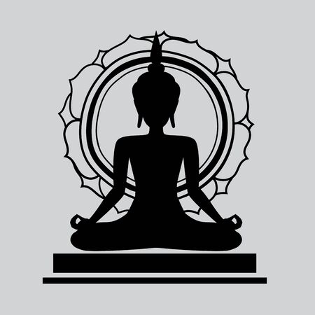 meditation silhouette, Yoga icon template color editable. Yoga symbol vector sign isolated on white background. Simple  vector illustration for graphic and web design.  Yoga on background. Иллюстрация