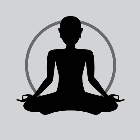 meditation silhouette, Yoga icon template color editable. Yoga symbol vector sign isolated on white background. Simple  vector illustration for graphic and web design.  on white background.