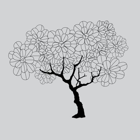 Vector hand drawn of tree. Иллюстрация