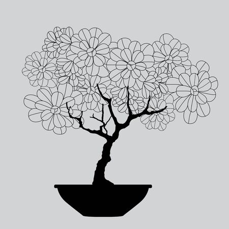 Vector hand drawn of tree. bonsai tree on pot.