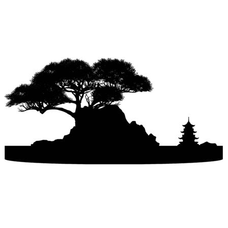 bonsai tree on the rock and Chinese architecture, vector illustration, mini tree 矢量图像