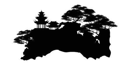 bonsai tree on the rock and Chinese architecture, vector illustration, mini tree Иллюстрация