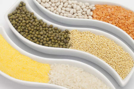 Colorful mix from different beans, legumes, peas, lentils photo