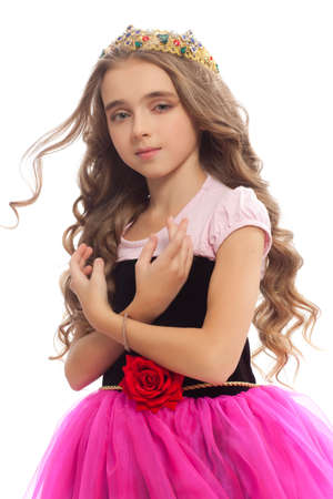 fabrica: Portrait of beautiful little girl with curly hair the fairy tale Princess
