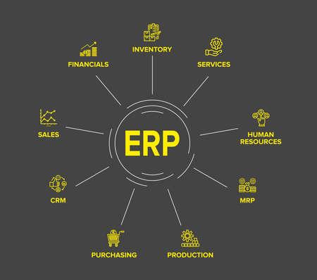 Enterprise resource planning (ERP) module/ workflow icon Construction on circle flow chart art vector design on black background