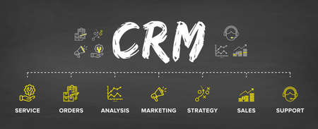 CRM – Customer Relationship Management software structure/ module/ workflow vector icon construction concept banner: Service, Order, Marketing, Analysis, Strategy, Sales, Support.
