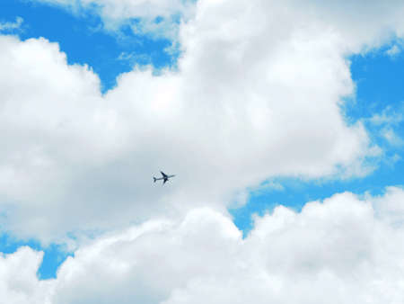 Clear blue sky and airplane