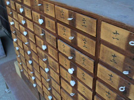 Numbered wooden chest of drawers