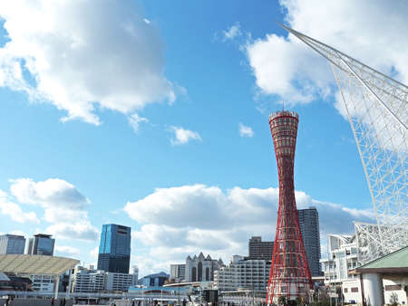 Clean blue sky and Kobe port tower