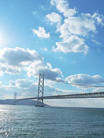Beautiful blue sky and bridge Фото со стока