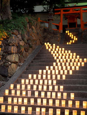 Scenery of Nara where candles gleaming beautifully