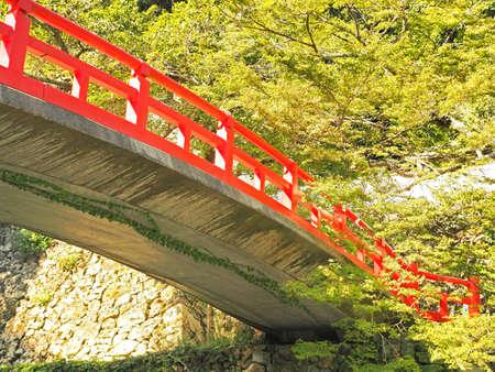 Scenery of beautiful red bridge of Minoh
