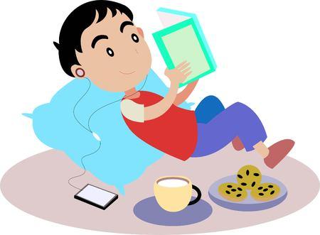 boy reading book Illustration