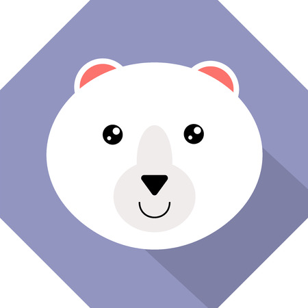 polar bear head icon flat design Иллюстрация