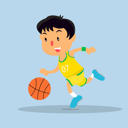 kid playing basketball flat design Ilustracja