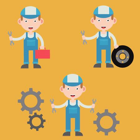 mechanic character illustration flat design vectors  イラスト・ベクター素材