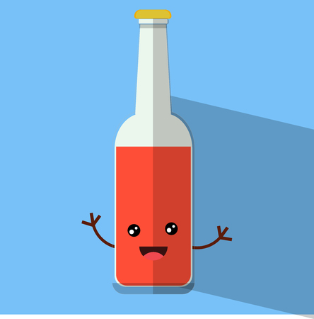 cute bottle with hand flat design vector illustration Иллюстрация