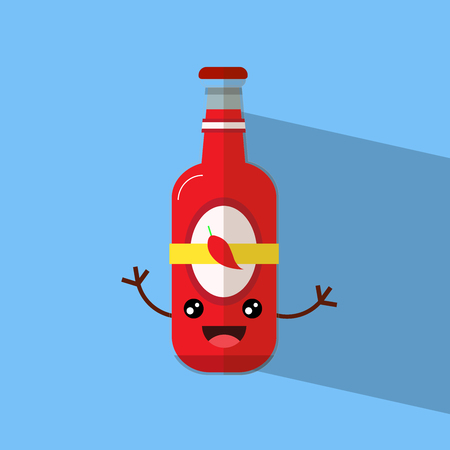 cute sauce bottle with hand flat design vector illustartion