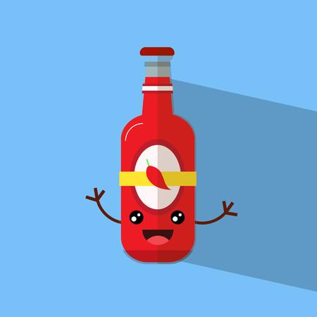 cute sauce bottle with hand flat design vector illustartion