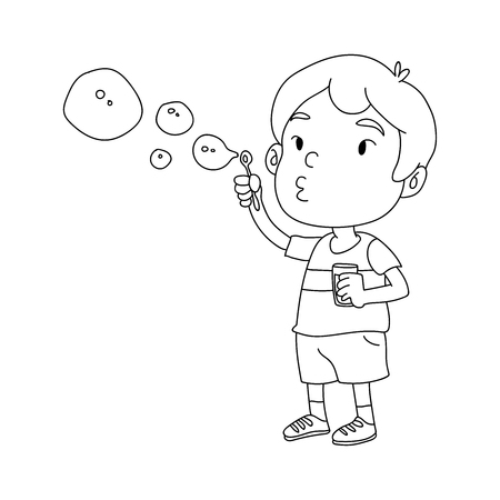 kid Blowing Bubble illustration