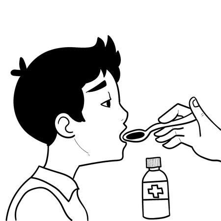 Kind nimmt Medikamente ein