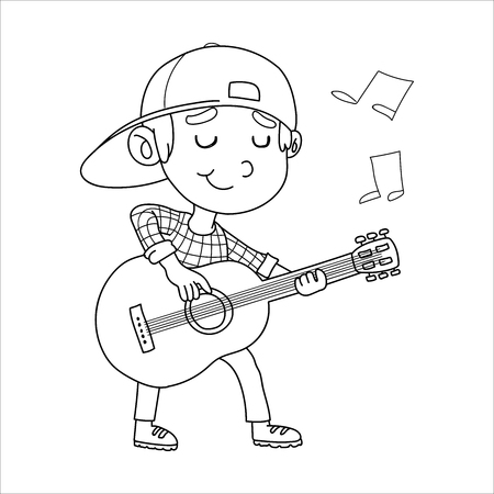 Vector Illustration Of Kids Playing Guitar Ilustração