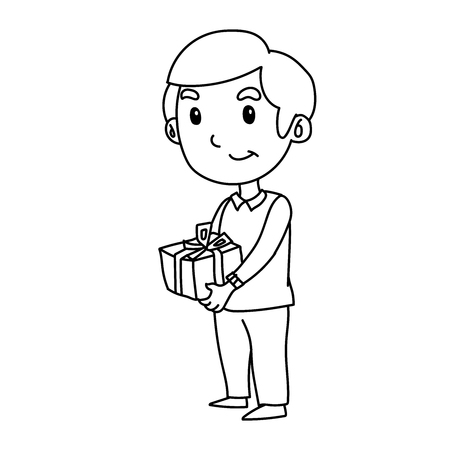 a boy with gift box Stock Illustratie