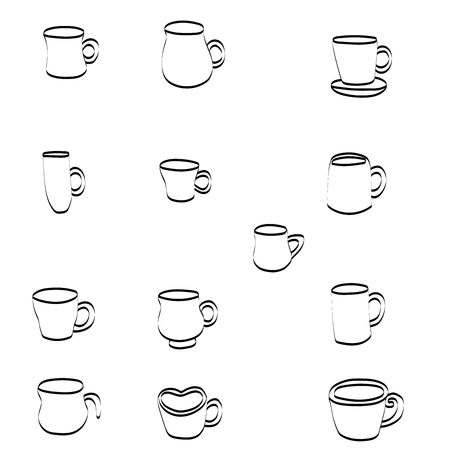 Coffee and Coffee cup Icons with White Background
