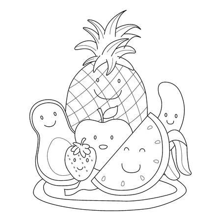 Cute fruit characters on plate. coloring book Vector Illustratie
