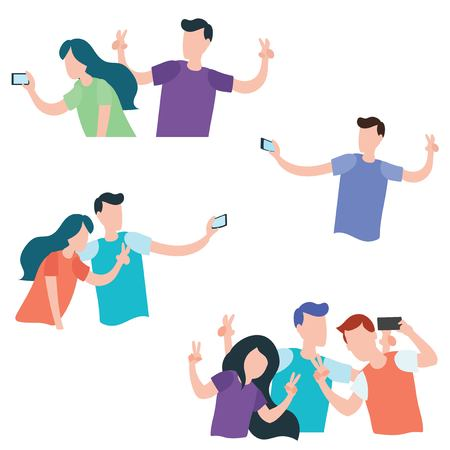 Set of young people and teen couples making selfie isolated on white background flat design Illustration