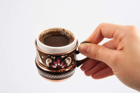 turkish coffee: Turkish coffee on hand Stock Photo