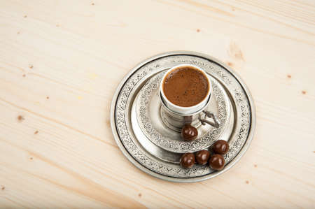 turkish coffee: Turkish coffee in the copper cup